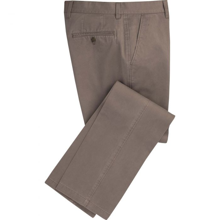 Light Taupe Brown Washed Twill Trousers
