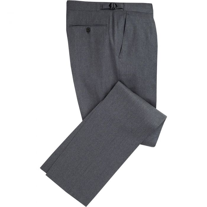 Grey Summer Flannel Pleated Trousers