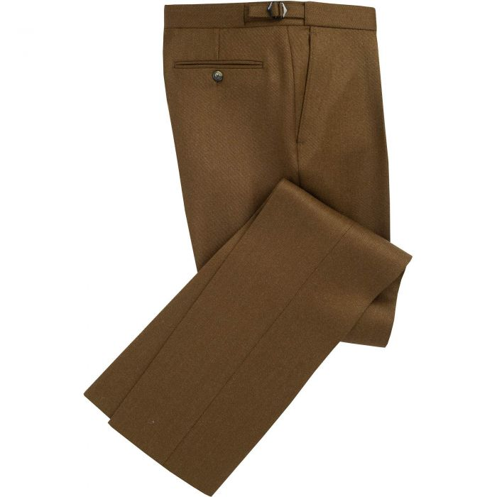Khaki English Whipcord Side Adjuster Trousers