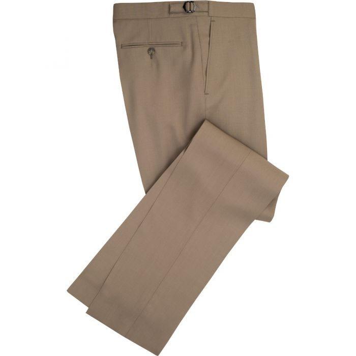Taupe Wool Gabardine Trousers