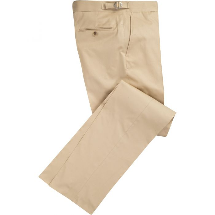 Khaki Cotton Gabardine Drill Suit Trousers