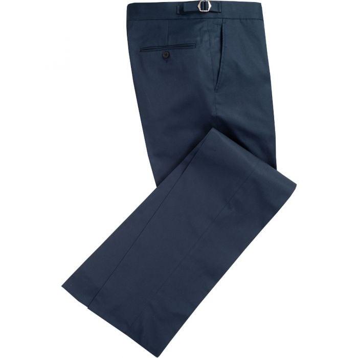 Navy Cotton Gabardine Drill Suit Trousers