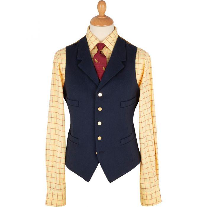 Navy Blue Collared Doeskin Waistcoat