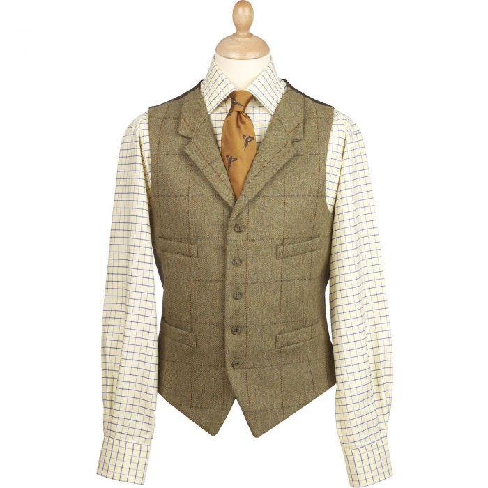 21oz Windowpane Tweed Collared Waistcoat