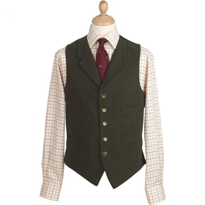 Olive Collared Green Doeskin Waistcoat