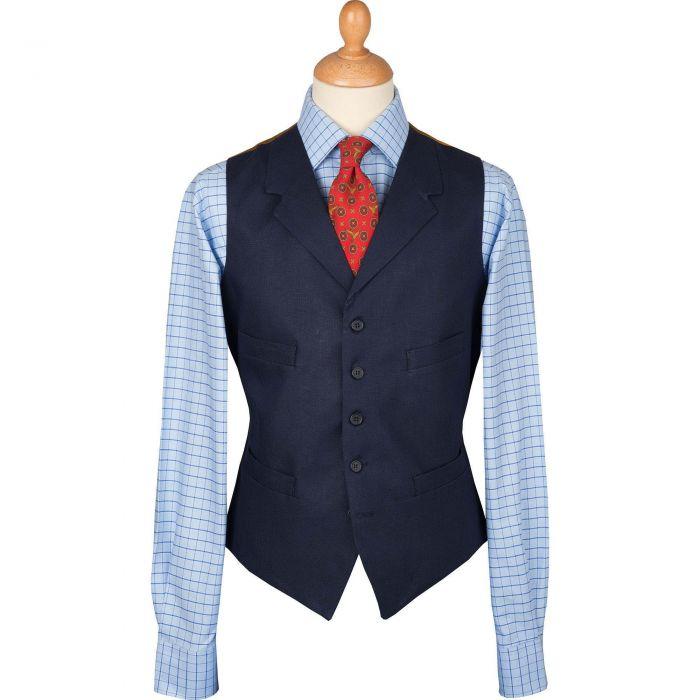 Navy Linen Waistcoat