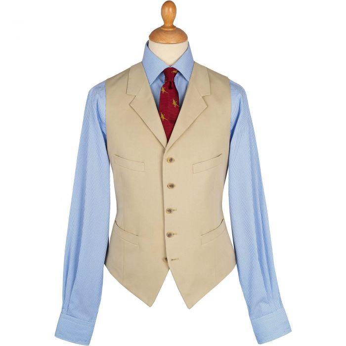 Khaki  Cotton Gabardine Drill Waistcoat