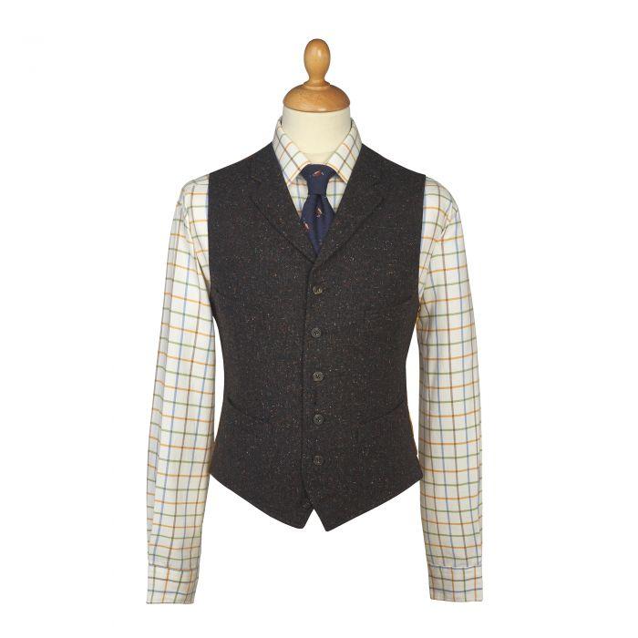 Grey Brown Donegal Tweed Waistcoat
