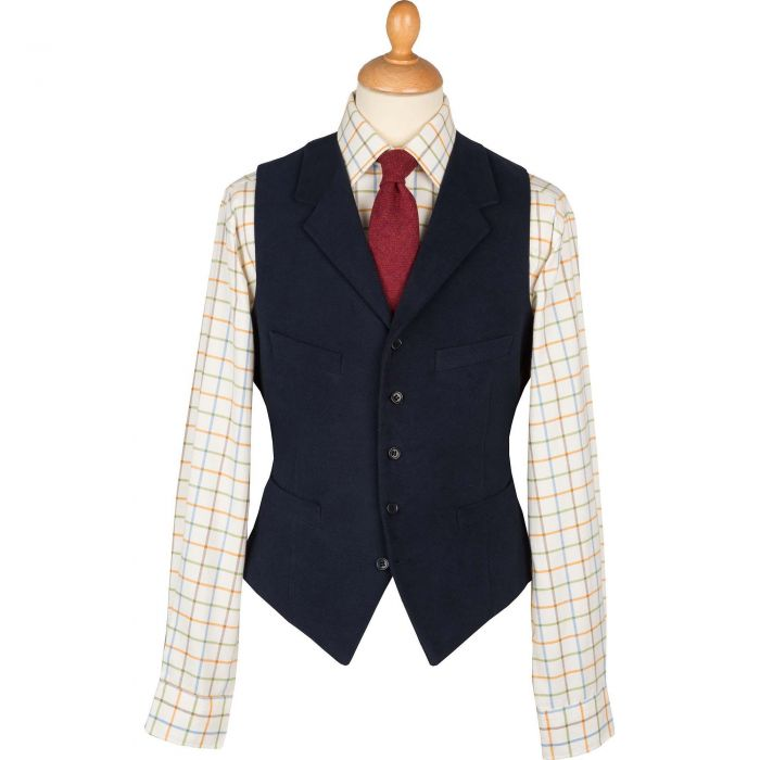 Navy Earl Moleskin Waistcoat