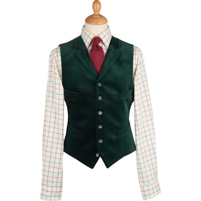 Bottle Green Collared Velvet Waistcoat