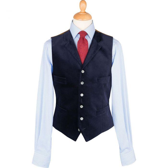 Navy Collared Velvet Waistcoat
