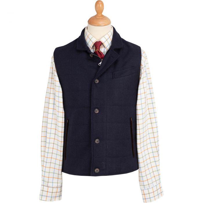 The Ebury Navy Tattersall Shetland Waistcoat
