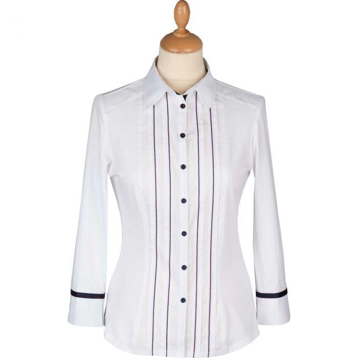 White Stretch Blue Trimmed Shirt