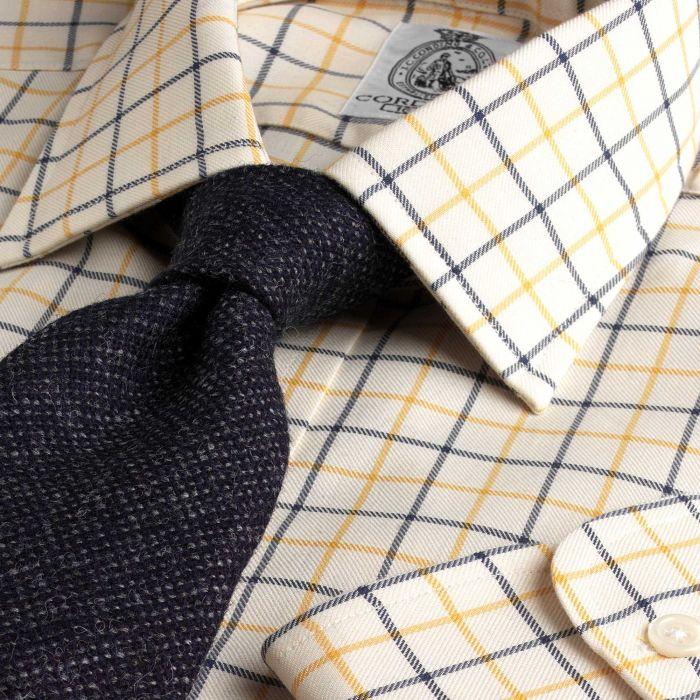 Yellow Navy Medium Check Tattersall Shirt