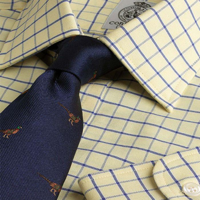 Blue Yellow Medium Check Brushed Oxford Shirt