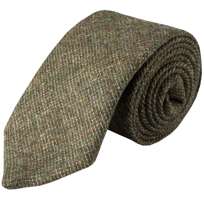 Green Olive Country Tweed Wool Tie