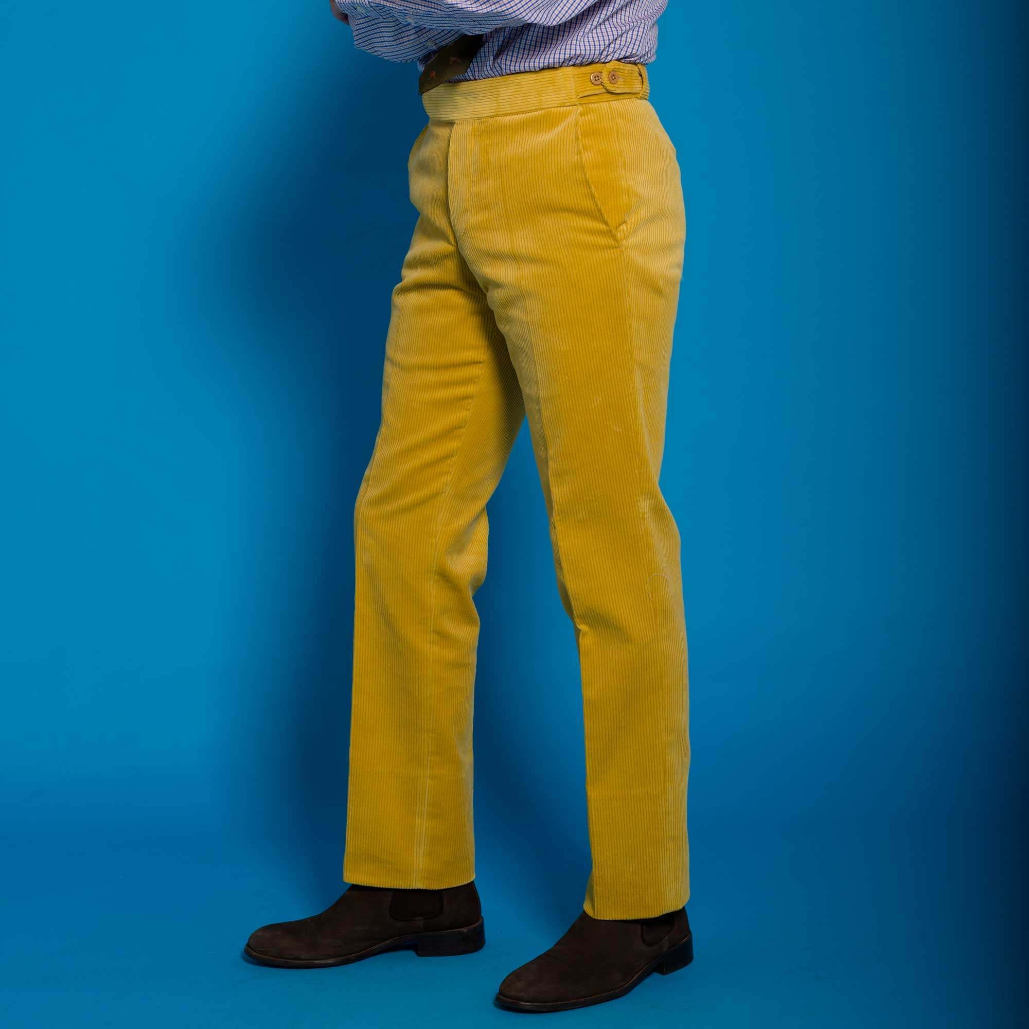 durable modeling drop shipping luxury Yellow Corduroy Trousers