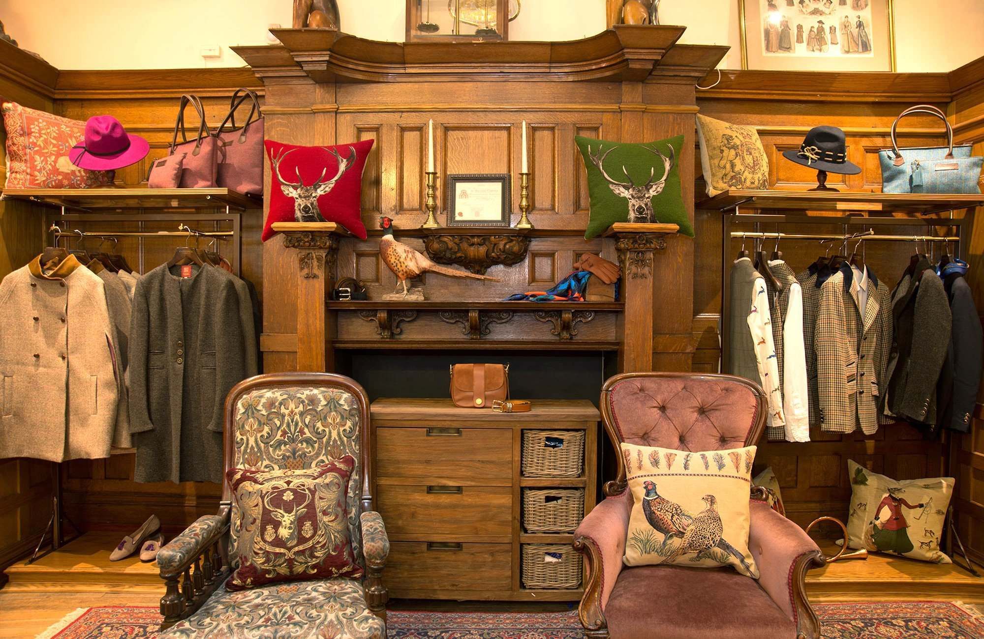 The original fireplace in the ladies' room surrounded by the collection