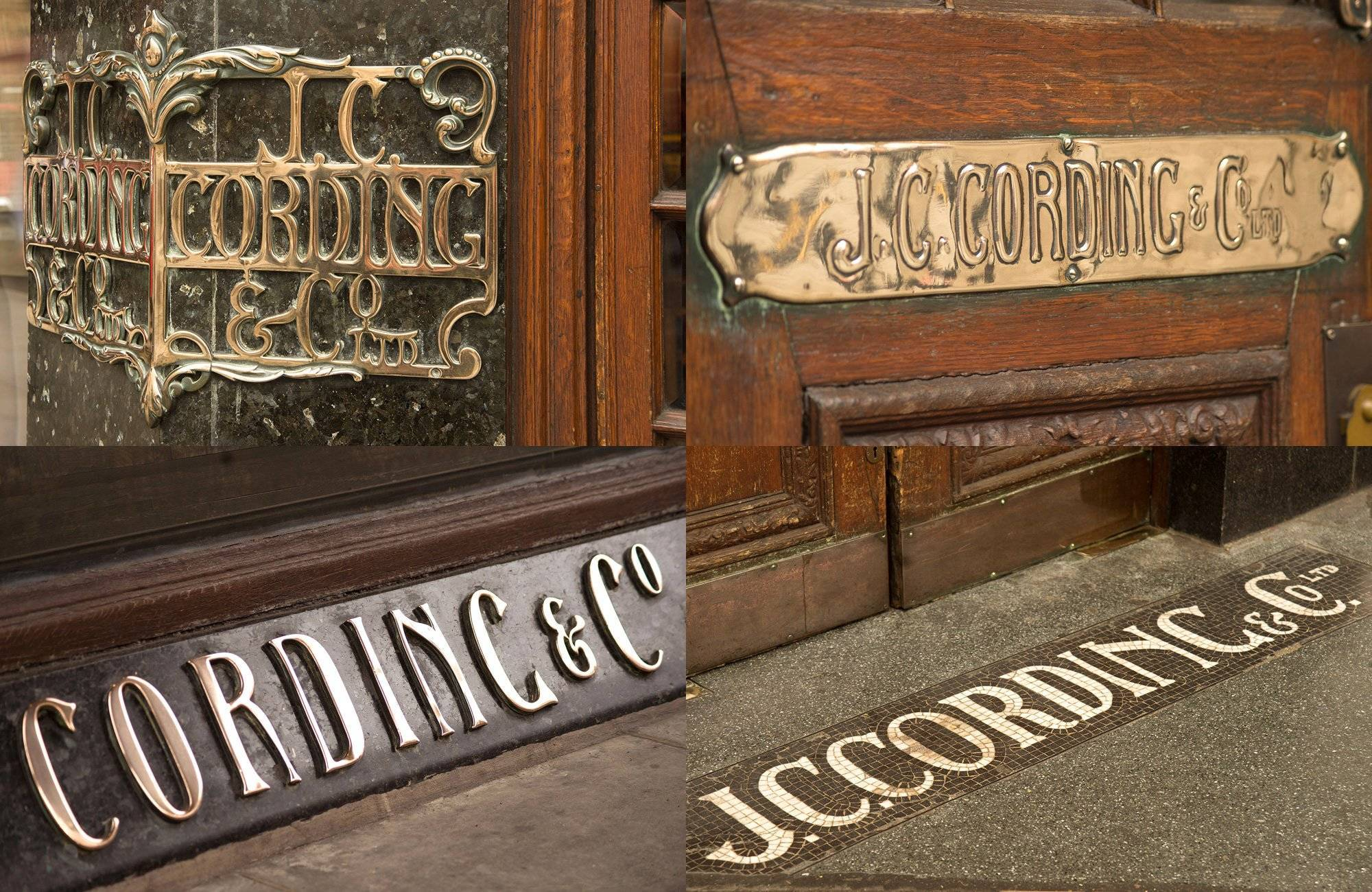 Edwardian signs on the exterior of Cordings