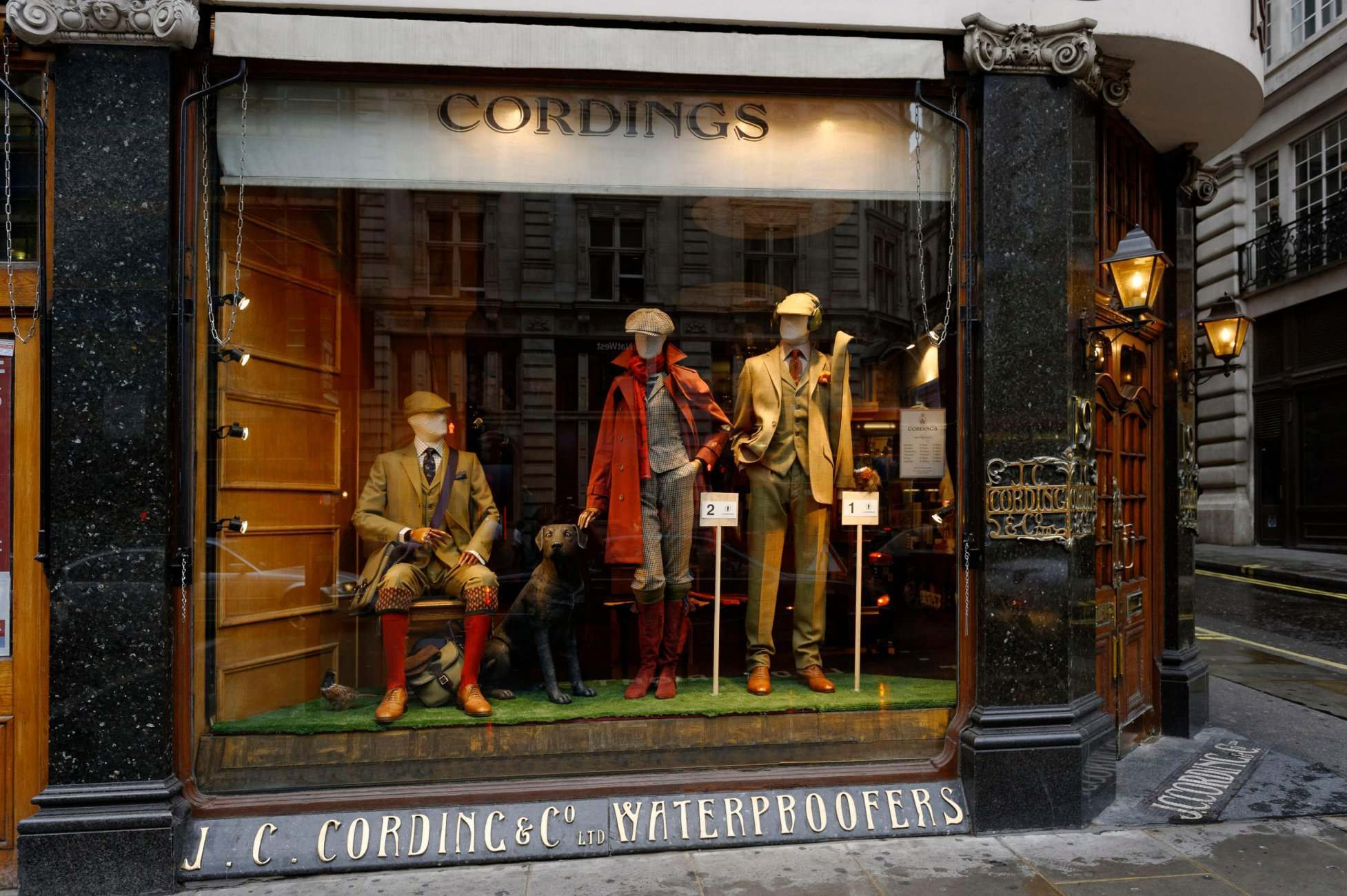 Cordings window facing onto Piccadilly.